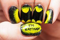 Batman nail art manicure Batman nails comic nails I'm Batman nails OMG...I wouldn't do this myself, but this is FANTASTIC!