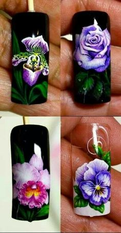Nail Art by Pisut Masanong Purple Nail Art, Floral Nail Art, Flower Nail Designs, Cool Nail Designs, Rose Nails, Flower Nails, Nail Manicure, Gel Nails, One Stroke Nails