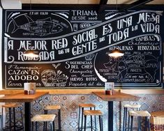 Chalkboard wall for Triana Chalkboard Designs, Chalkboard Art, Cafe Interior Design, Cafe Design, Menu Restaurant, Restaurant Design, Chalk Lettering, Café Bar, Coffee Shop Design