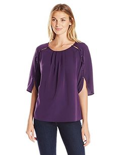 Lark   Ro Women s 3 4 Length Button Sleeve Billowy Top 42d688a45848