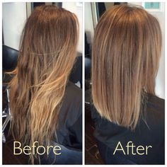Avant-Apres : Before and after. Soft creamy ombre with a blunt lob. Cocohoney salon.