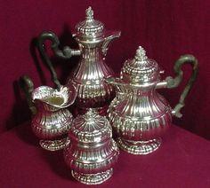 Stresa by Buccellati Sterling Silver Tea Set Pot Creamer Sugar Coffee Italy 4pc   eBay