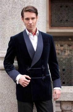 New-Men-039-s-Bilberry-Smoking-Velvet-Jacket-Stylish-Blue-Shawl-Blazer-Coat-Jackets