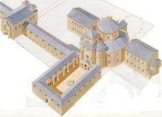 Capilla Palatina de Aquisgrán (Aix-la-Chapelle) (792-805). Reconstrucción.
