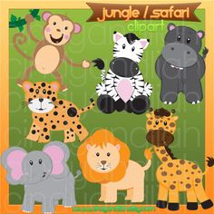 Jungle / Safari  Clipart by CindyandLiah on Etsy, $5.00