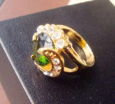 New women's gift fashion Gold plated cubic zirconia ring green stone