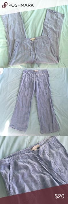 Light Blue Linen Pants Light blue 100% Linen pants that are very comfy. They are lightly worn and in great condition. Their brand was not listed so I listed them as Free People. Feel free to ask questions or make offers!💙 Free People Pants Boot Cut & Flare
