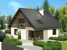 DOM EB3-15 posiada charakterystyczny wygląd dzięki nowoczesnemu designowi narożnych panoramicznych okie Minimal House Design, Simple House Design, House Design Photos, Modern Bungalow House, Small House Exteriors, Cottage House Designs, Cottage Homes, House Paint Exterior, Facade House