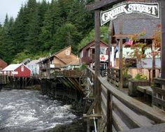 Creek Street.   The antique boardwalk on wooden pilings over Ketchikan Creek is home to restaurants, unique curio shops, the 'Dolly's House Museum' & private dwellings, as well as some of the best salmon viewing areas in Ketchikan. Married Man's Trail and the Salmon Ladder are also not to be missed when exploring Creek Street!