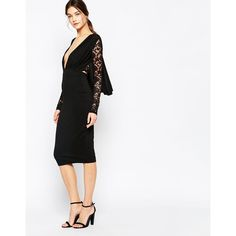 Hedonia Missy Plunge Midi Dress with Lace Back and Sleeves (€59) ❤ liked on Polyvore featuring dresses, black, black cocktail dresses, black plunge dress, slimming black dress, black midi dress and black sleeve dress