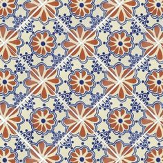 Terra Cotta & Blue Lace Talavera Mexican Tile :: this would be so pretty in a shower