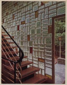 1964 Mondrian-patterned glass block wall with multi-shaped blocks and colored accents