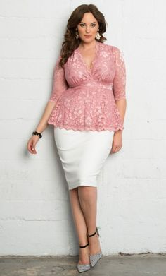 Add a little romance to your wardrobe with our Linden Lace Top. Modeled after our top-selling Scalloped Boudoir Lace Dress, this gorgeous top has feminine scalloped edges and a classic silhouette. Shop www.curvaliciousclothes.com #PlusSize