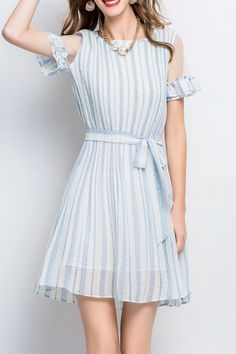 Aibiry Light Blue Belted Striped Mini Dress | Mini Dresses at DEZZAL