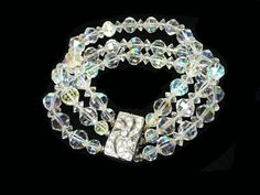 Crystal Bead Bracelet - Vintage Three Strand beaded Style - Decorative Rhinestone Clasp - Mid Century Brides Wedding