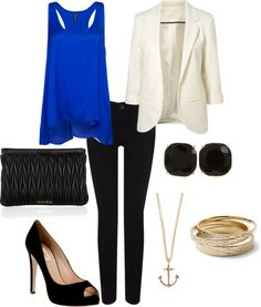white blazer, black skinnies, and royal blue tank