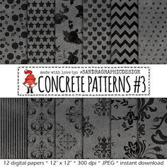 "Digital paper: ""CONCRETE PATTERNS"" with pretty patterns on concrete texture, in grey and black (429)"