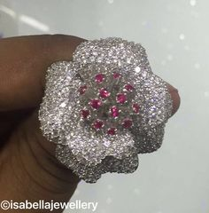 Beautiful AAAAA grade red and white cubic zirconia flower ring in sterling silver .925