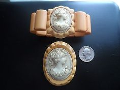 Fabulous-Vintage-Butterscotch-Bakelite-and-Celluloid-Cameo-Brooch-and-Bracelet