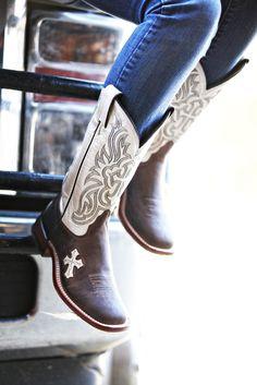 "Tony Lama Tan Tuscan Goat with Bone Inlay Cross 12"" Top Cowgirl Boot www.nrsworld.com/..."