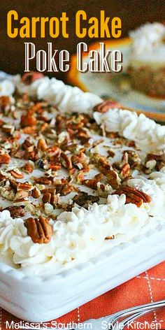 Delicious to the very last crumb treats carrot cake Carrot Cake Poke Cake Poke Cakes, Poke Cake Recipes, Frosting Recipes, Dump Cakes, Desserts Ostern, Köstliche Desserts, Dessert Recipes, Dessert Simple, Mini Cakes