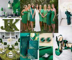 Wedding Ideas: Emerald Green and Black Wedding Green Wedding Decorations, Wedding Themes, Wedding Colors, Wedding Ideas, Wedding Stuff, Olive Green Weddings, Emerald Green Weddings, Color Verde Jade, Wedding Motifs