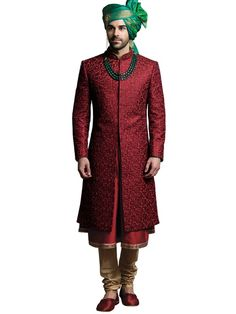 Buy Jade Blue Maroon Anarkali Sherwani online in India at best price. Kindly provide this Sherwani MAIJ as reference number while inquiring about this product at any stor Indian Groom Dress, Wedding Dresses Men Indian, Groom Wedding Dress, Indian Wedding Wear, Wedding Outfits, Wedding Attire, Indian Wear, Sherwani Groom, Mens Sherwani