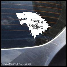 Winter is Coming Stark Direwolf Wolf GoT Game of Thrones-inspired Vinyl Car/Laptop Decal