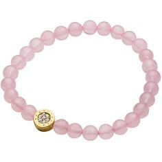 Dyrberg/Kern Crystal Set Beaded Stretch Bracelet , Rose Quartz (£65) ❤ liked on Polyvore featuring jewelry, bracelets, rose quartz, charm bangles, polish jewelry, charm jewelry, crystal bangles and shiny charm