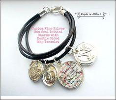 Katie Holmes Cruise Double Map Necklace with Puffy Heart Charm and Bling - Paper and Place
