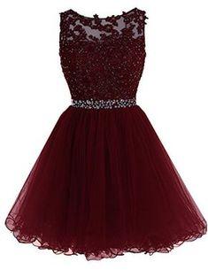 Sarahbridal Women's Tulle Short Homecoming Dresses Appliq...