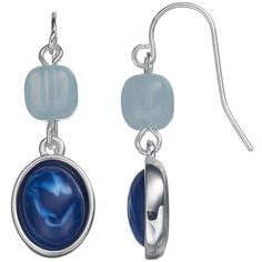 Chaps Blue Marbled Cabochon Drop Earrings ($8.40) ❤ liked on Polyvore featuring jewelry, earrings, navy, fish hook earrings, nickel free jewelry, marble earrings, navy blue drop earrings and navy jewelry
