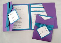 Pockets and ribbons are available in other colours, love these invitations