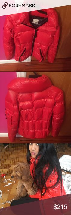 Sam red freestyle down puffer jacket Literally worn it twice. Aunt got it for me. Hardly wear it because I already have a jacket I wear. Basically new and it was bought from Bloomingdales. No signs of wear. fits xs/s I usually wear 0-4 sizes Bloomingdale's Tops