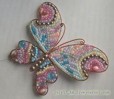 wirework butterfly - wire beading inside - HandMadera: Beaded jewelry ideas