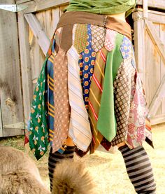 Vintage Necktie Pleated Skirt