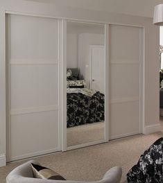 Shaker Panel Door White with Shaker Mirror Door White Sliding Wardrobe Doors Uk, Bedroom Closet Doors, Mirror Closet Doors, Bedroom Cupboards, Wardrobe Design Bedroom, Home Bedroom, Bedroom Furniture, Bedroom Decor, Mirror Door