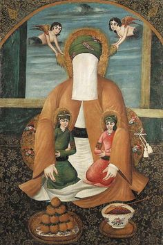 The Prophet with Hasan and Hosseinhis veiled figure is seated leaning against a cushion cradling Hasan and Hossein in his arms Qajar Persia, mid-19th c. -Oil on stretched canvas