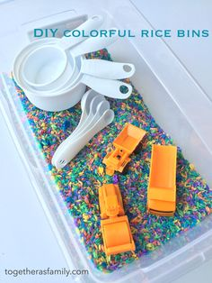 DIY colorful rice play bins. A great activity for kids to keep them busy.