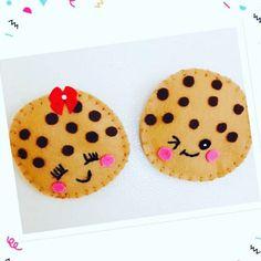 Food felt magnet/ iman de nevera en fieltro/food toys felt/chocolate chips cookies/galletas de chocolate en fieltro