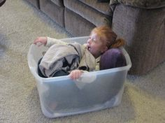Squish box for calming: plastic tub, stuffed animals, blankets, towels, maybe some chewy toys.