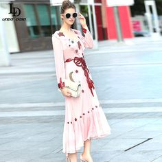 Pink Long Dress Autumn Women Smart A-Line Beading Long Sleeve Ankle-Length Dress $98.99   => Save up to 60% and Free Shipping => Order Now! #fashion #woman #shop #diy  http://www.clothesdeals.net/product/runway-dress-brand-pink-long-dress-2016-new-fashion-autumn-women-smart-a-line-beading-long-sleeve-ankle-length-dress