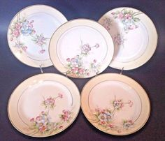 5-Nippon-Noritake-Dessert-Plates-Circa-1912-Hand-Painted-With-Gilding