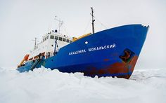 The Russian ship MV Akademik Shokalskiy is trapped in thick ice 1,500 nautical miles south of Hobart, Australia.