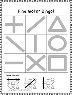 PRE-WRITING BINGO ! Vertical horizontal circle cross square diagonal triangle Are you working on PRE-WRITING LINES, fine motor skills, motor accuracy and tracing? Then you need this game for your students!This game is a very simple BINGO game that utilizes 9 tiles (3 x 3 box).This utilizes the 9 pre-writing lines and shapes on each of the 10 unique cards.This includes caller cards, the developmental progression of lines& extra blank bingo card! preschool, kindergarten SPED occupational…