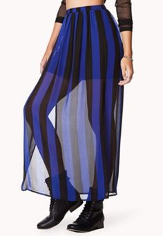 Aria wore this Forever 21 Vented Striped Maxi Skirt on Pretty Little Liars S5E6