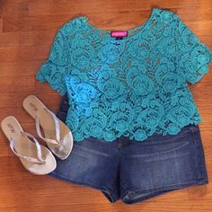 """SALE Crochet Crop Top Measures Approx. 18"""" from shoulder to hem and 38"""" bust. Beautiful turquoise color. Top does have some stretch to it. Say What? Tops Crop Tops"""