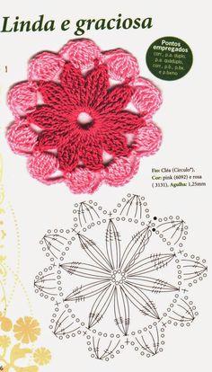 60 Gráficos de Flores de Crochê para Download - Grátis - Toda Atual                                                                                                                                                                                 Mais