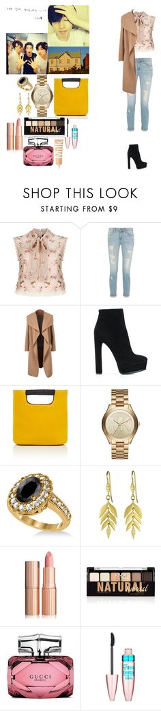 """""""eunhyuk-super junior"""" by chanbaek614 ❤ liked on Polyvore featuring Needle & Thread, Casadei, Simon Miller, Michael Kors, Allurez, NYX, Gucci and Maybelline"""