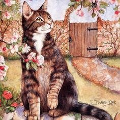 Spring cat paintings. Debbie Cook